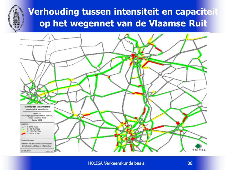H01I6A Verkeerskunde basis86 Verhouding tussen intensiteit en capaciteit op het wegennet van de Vlaamse Ruit