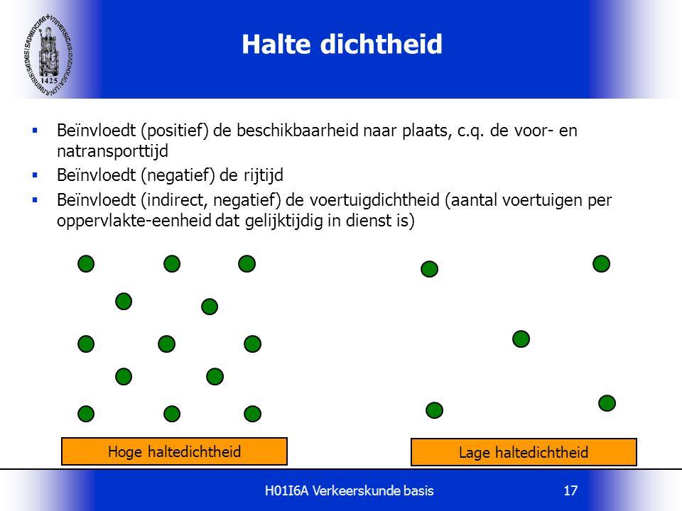 H01I6A Verkeerskunde basis17 Halte dichtheid  Beïnvloedt (positief) de beschikbaarheid naar plaats, c.q. de voor- en natransporttijd  Beïnvloedt (ne
