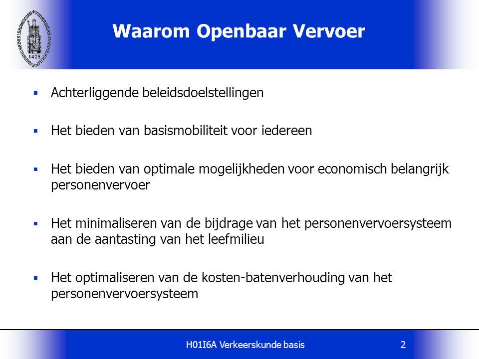 H01I6A Verkeerskunde basis2 Waarom Openbaar Vervoer  Achterliggende beleidsdoelstellingen  Het bieden van basismobiliteit voor iedereen  Het bieden