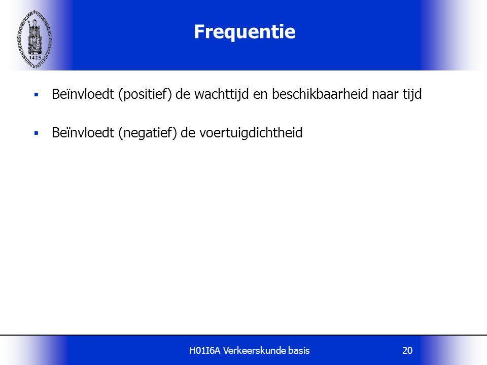 H01I6A Verkeerskunde basis20 Frequentie  Beïnvloedt (positief) de wachttijd en beschikbaarheid naar tijd  Beïnvloedt (negatief) de voertuigdichtheid