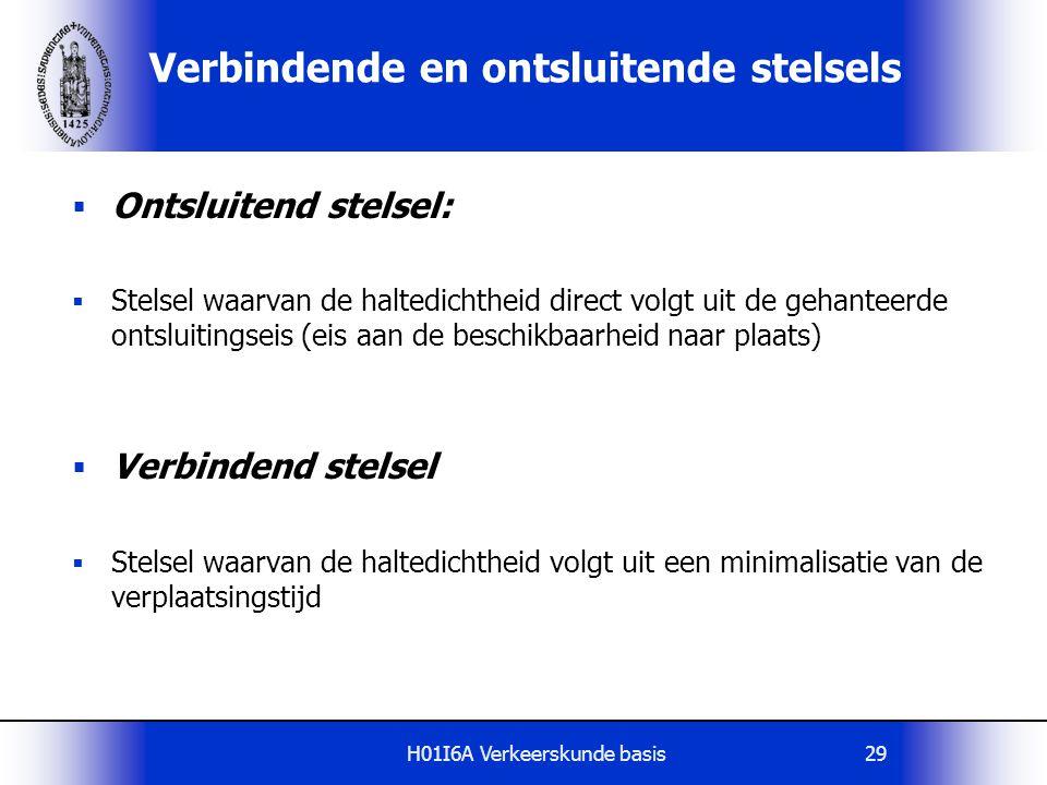 H01I6A Verkeerskunde basis29 Verbindende en ontsluitende stelsels  Ontsluitend stelsel:  Stelsel waarvan de haltedichtheid direct volgt uit de gehan