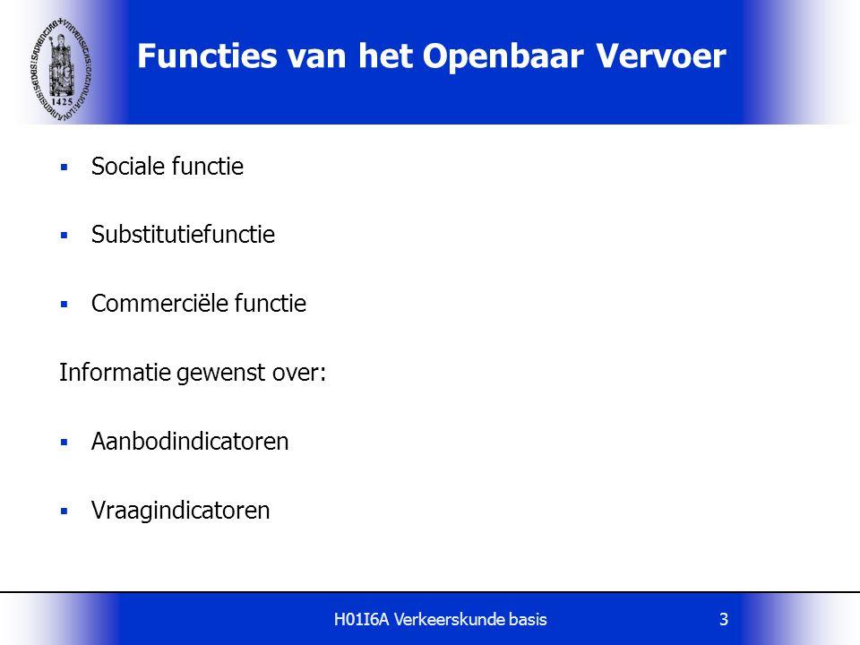 H01I6A Verkeerskunde basis3 Functies van het Openbaar Vervoer  Sociale functie  Substitutiefunctie  Commerciële functie Informatie gewenst over: 