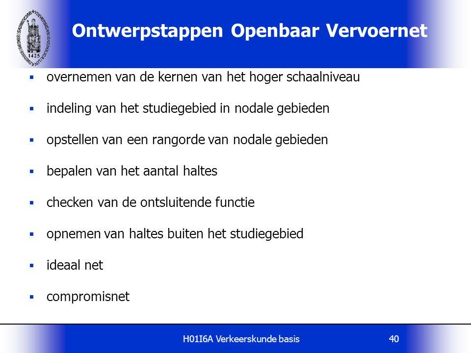 H01I6A Verkeerskunde basis40 Ontwerpstappen Openbaar Vervoernet  overnemen van de kernen van het hoger schaalniveau  indeling van het studiegebied i