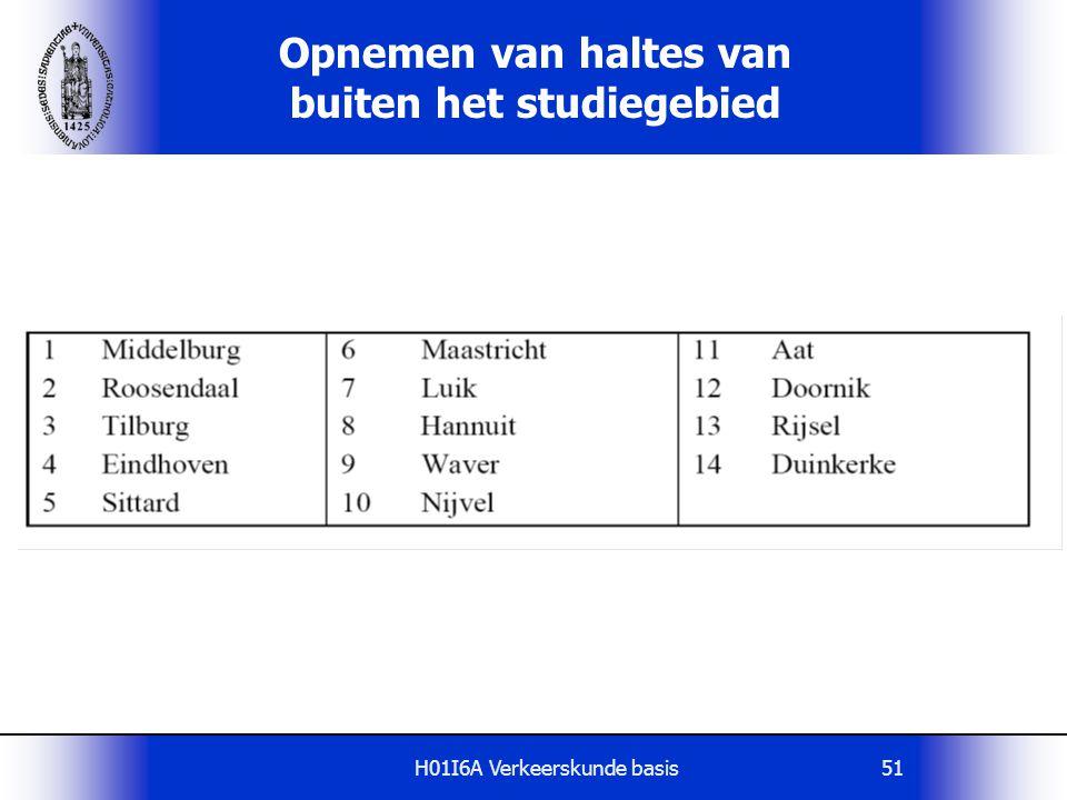 H01I6A Verkeerskunde basis51 Opnemen van haltes van buiten het studiegebied