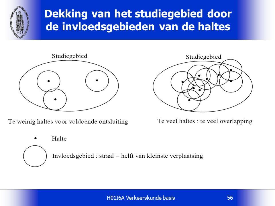 H01I6A Verkeerskunde basis56 Dekking van het studiegebied door de invloedsgebieden van de haltes