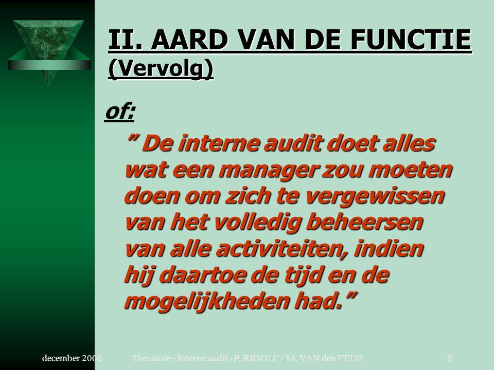december 2000Thesaurie - Interne audit - P.RIGOLE / M.