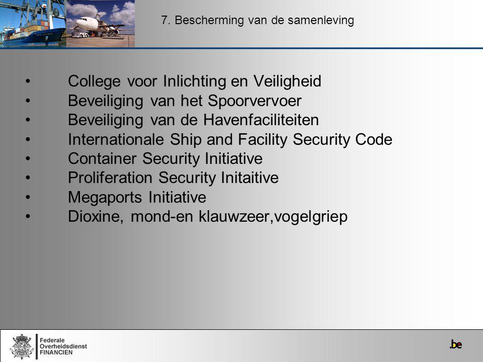 College voor Inlichting en Veiligheid Beveiliging van het Spoorvervoer Beveiliging van de Havenfaciliteiten Internationale Ship and Facility Security