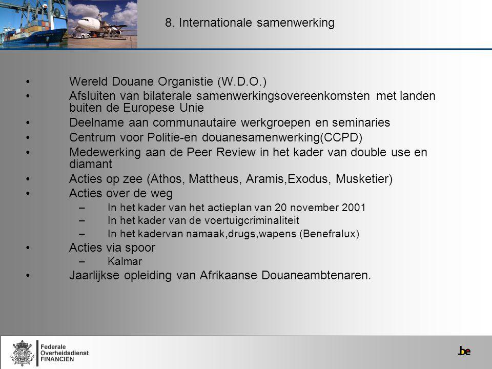 Wereld Douane Organistie (W.D.O.) Afsluiten van bilaterale samenwerkingsovereenkomsten met landen buiten de Europese Unie Deelname aan communautaire w