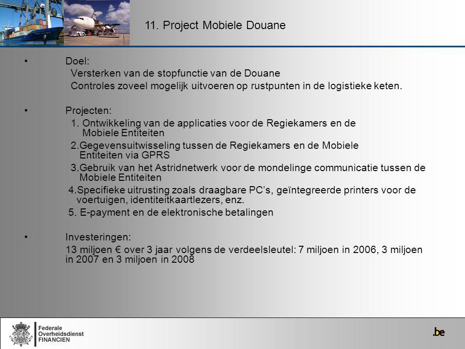 Doel: Versterken van de stopfunctie van de Douane Controles zoveel mogelijk uitvoeren op rustpunten in de logistieke keten. Projecten: 1. Ontwikkeling