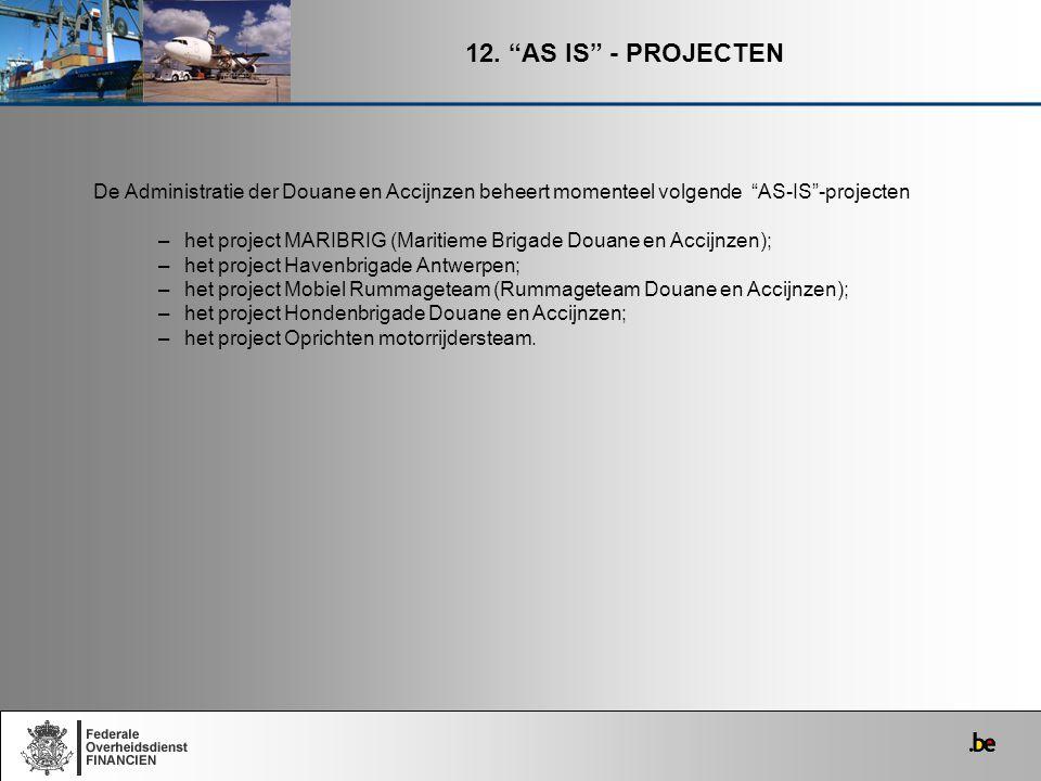 """12. """"AS IS"""" - PROJECTEN De Administratie der Douane en Accijnzen beheert momenteel volgende """"AS-IS""""-projecten –het project MARIBRIG (Maritieme Brigade"""