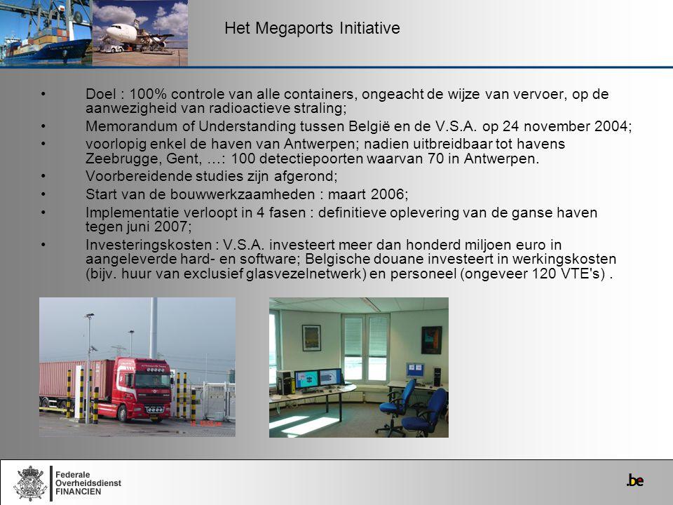 Doel : 100% controle van alle containers, ongeacht de wijze van vervoer, op de aanwezigheid van radioactieve straling; Memorandum of Understanding tus