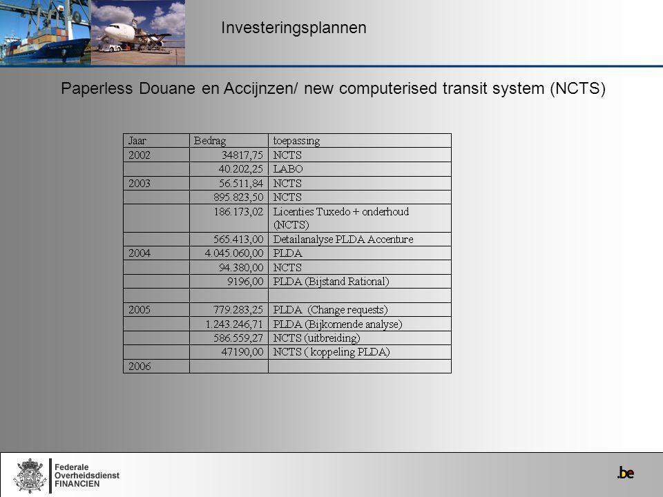Investeringsplannen Paperless Douane en Accijnzen/ new computerised transit system (NCTS)