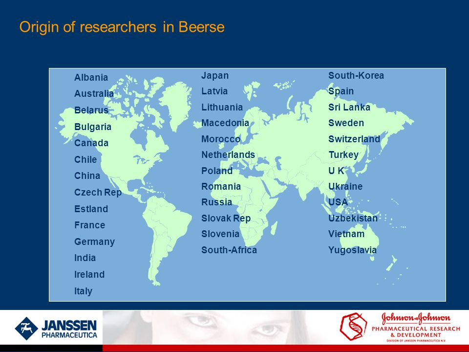 Origin of researchers in Beerse Albania Australia Belarus Bulgaria Canada Chile China Czech Rep Estland France Germany India Ireland Italy Japan Latvia Lithuania Macedonia Morocco Netherlands Poland Romania Russia Slovak Rep Slovenia South-Africa South-Korea Spain Sri Lanka Sweden Switzerland Turkey U K Ukraine USA Uzbekistan Vietnam Yugoslavia