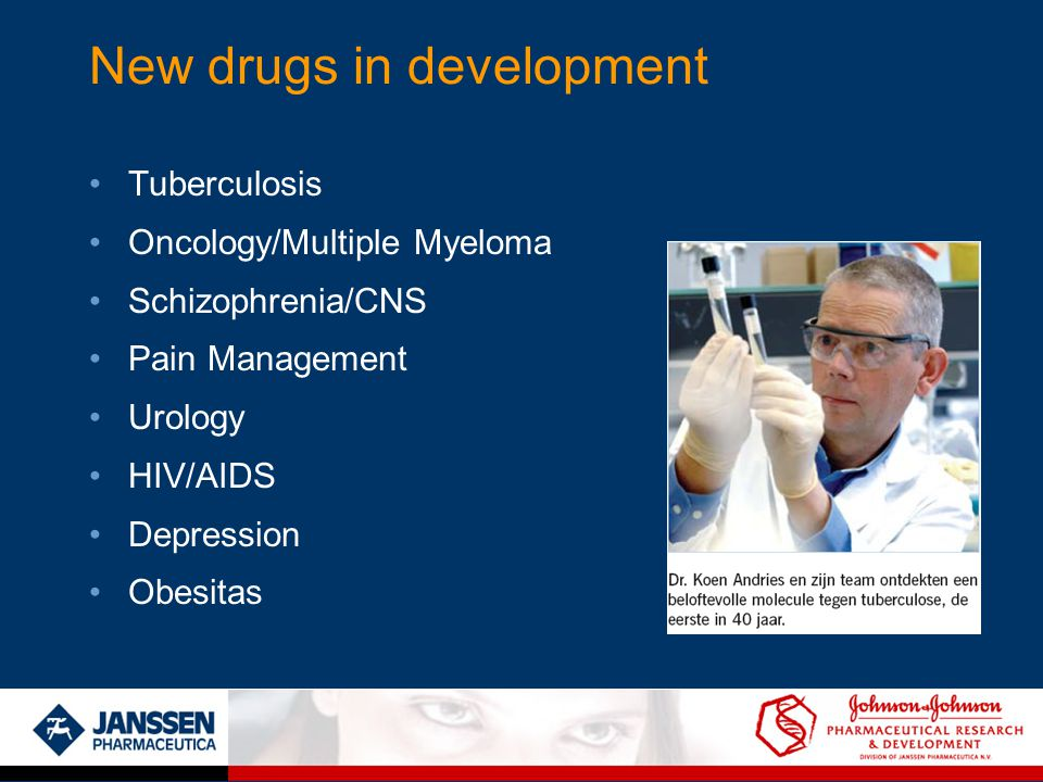 New drugs in development Tuberculosis Oncology/Multiple Myeloma Schizophrenia/CNS Pain Management Urology HIV/AIDS Depression Obesitas