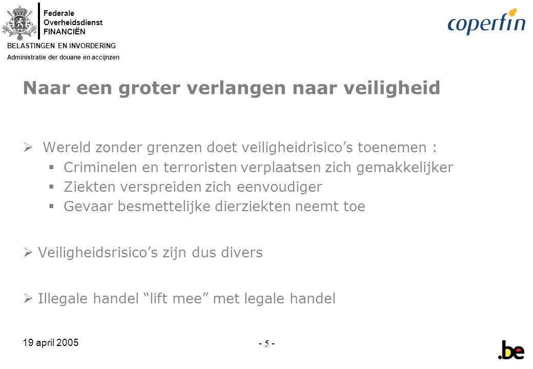 Federale Overheidsdienst FINANCIËN BELASTINGEN EN INVORDERING Administratie der douane en accijnzen 19 april 2005 - 6 -  11/9 : terrorisme = veiligheidsrisico nr.