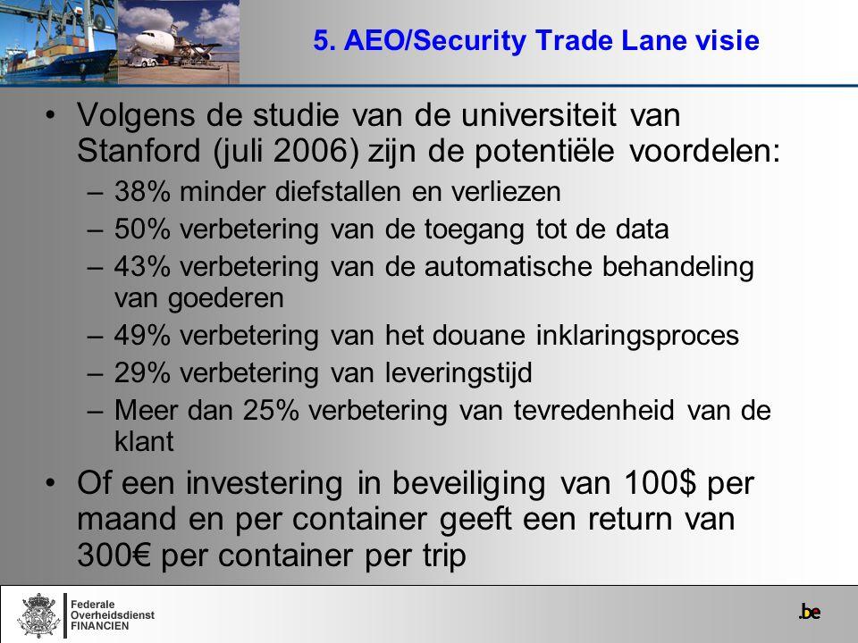 5. AEO/Security Trade Lane visie Volgens de studie van de universiteit van Stanford (juli 2006) zijn de potentiële voordelen: –38% minder diefstallen
