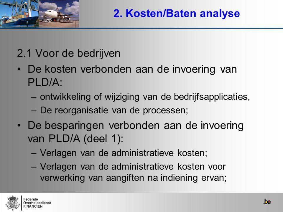 2. Kosten/Baten analyse 2.1 Voor de bedrijven De kosten verbonden aan de invoering van PLD/A: –ontwikkeling of wijziging van de bedrijfsapplicaties, –