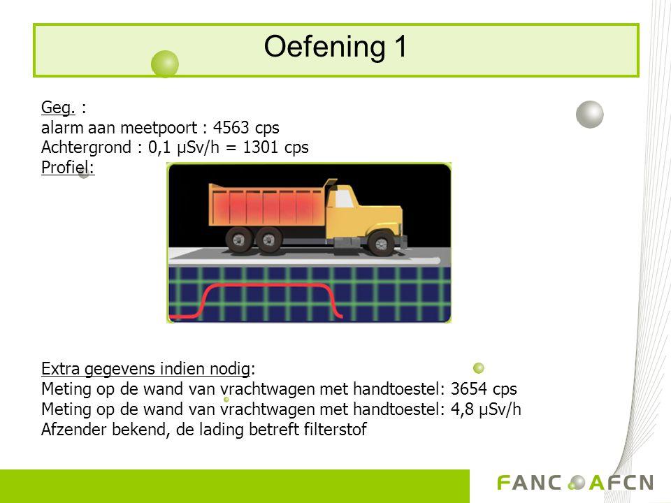 Oefening 1 - oplossing  < 20 keer achtergrond  Homogeen  > actiedrempel (2 keer achtergrond)  Dosistempo aan de wand van de vrachtwagen < 5µSv/u  Terug naar afzender.