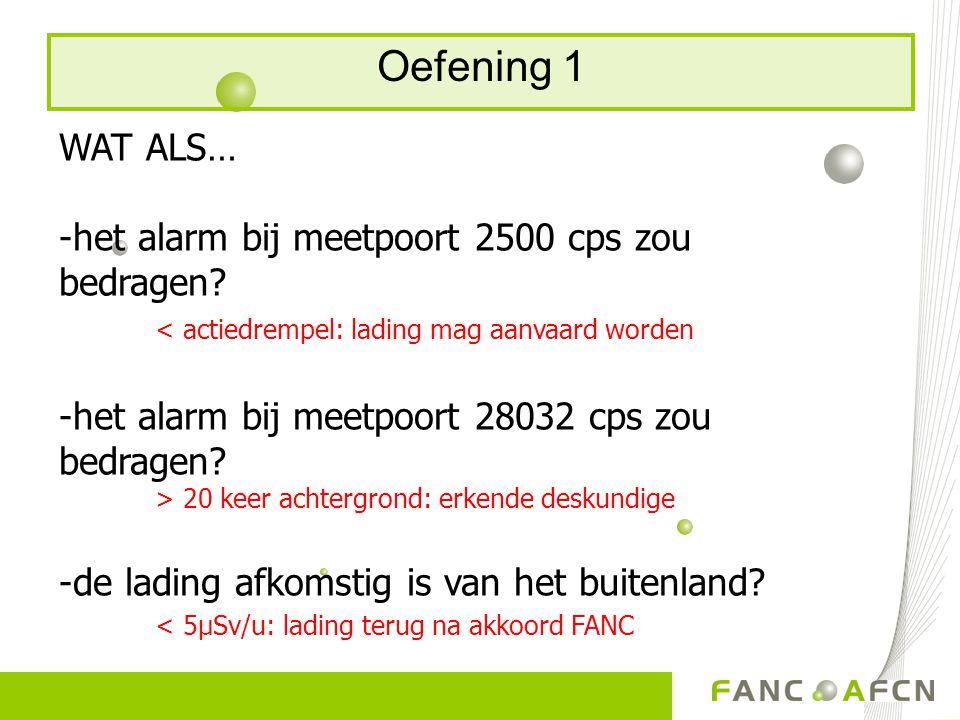 Oefening 1 WAT ALS… -het alarm bij meetpoort 2500 cps zou bedragen? < actiedrempel: lading mag aanvaard worden -het alarm bij meetpoort 28032 cps zou