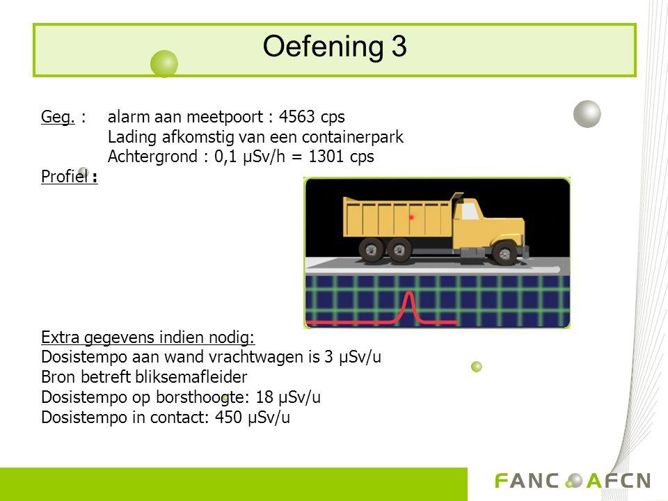 Oefening 3 Geg. : alarm aan meetpoort : 4563 cps Lading afkomstig van een containerpark Achtergrond : 0,1 μSv/h = 1301 cps Profiel : Extra gegevens in