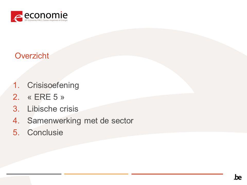 Overzicht 1.Crisisoefening 2.« ERE 5 » 3.Libische crisis 4.Samenwerking met de sector 5.Conclusie