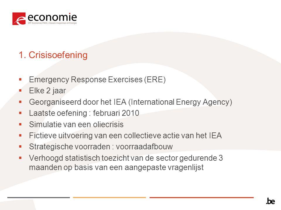 1. Crisisoefening  Emergency Response Exercises (ERE)  Elke 2 jaar  Georganiseerd door het IEA (International Energy Agency)  Laatste oefening : f