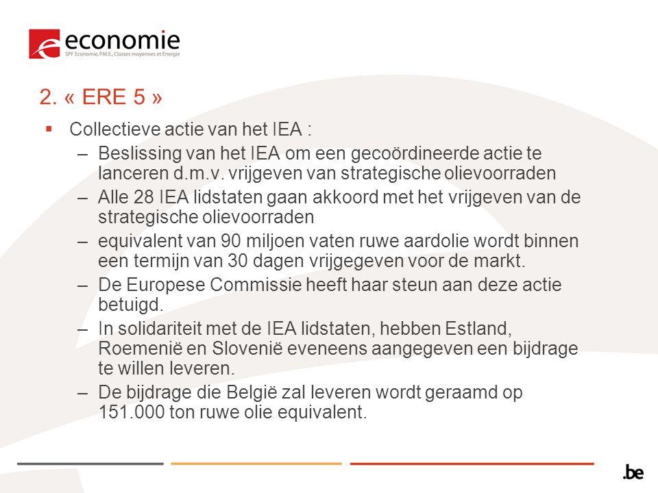 2. « ERE 5 »  Collectieve actie van het IEA : –Beslissing van het IEA om een gecoördineerde actie te lanceren d.m.v. vrijgeven van strategische oliev