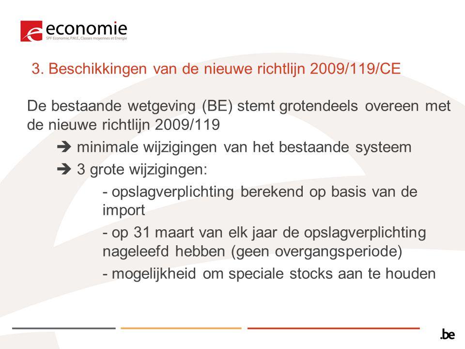 3. Beschikkingen van de nieuwe richtlijn 2009/119/CE De bestaande wetgeving (BE) stemt grotendeels overeen met de nieuwe richtlijn 2009/119  minimale