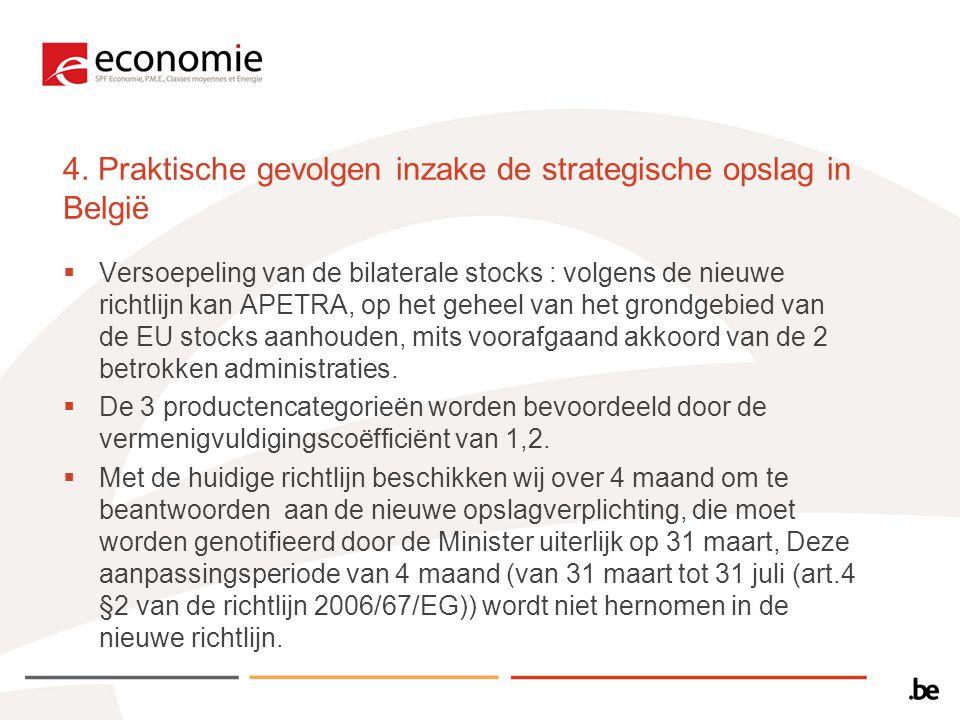 4. Praktische gevolgen inzake de strategische opslag in België  Versoepeling van de bilaterale stocks : volgens de nieuwe richtlijn kan APETRA, op he