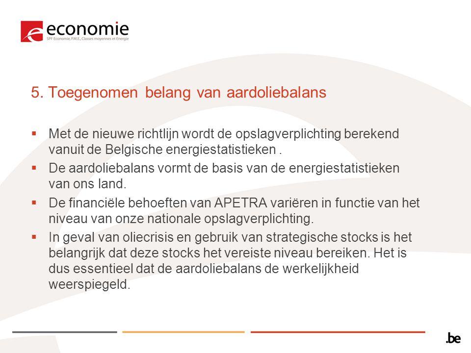 5. Toegenomen belang van aardoliebalans  Met de nieuwe richtlijn wordt de opslagverplichting berekend vanuit de Belgische energiestatistieken.  De a