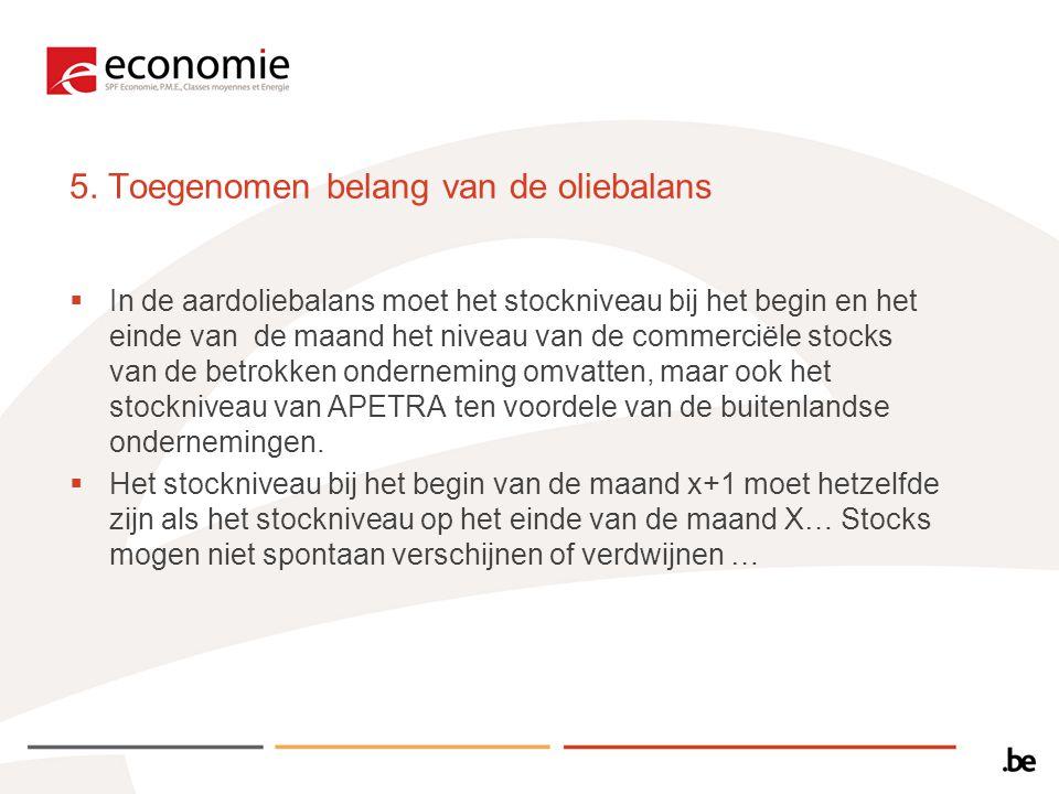 5. Toegenomen belang van de oliebalans  In de aardoliebalans moet het stockniveau bij het begin en het einde van de maand het niveau van de commercië