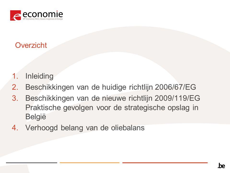 Overzicht 1.Inleiding 2.Beschikkingen van de huidige richtlijn 2006/67/EG 3.Beschikkingen van de nieuwe richtlijn 2009/119/EG Praktische gevolgen voor