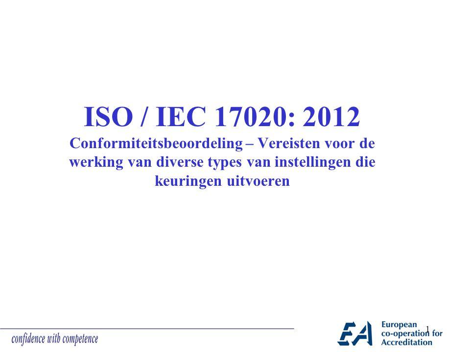 ISO / IEC 17020: 2012 Conformiteitsbeoordeling – Vereisten voor de werking van diverse types van instellingen die keuringen uitvoeren 1