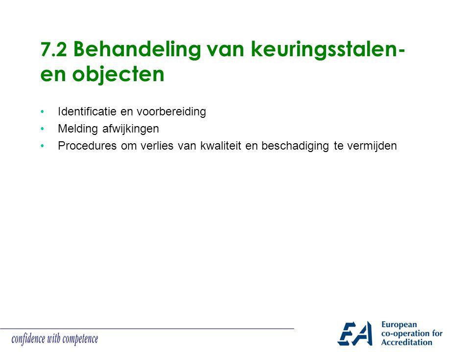 7.2 Behandeling van keuringsstalen- en objecten Identificatie en voorbereiding Melding afwijkingen Procedures om verlies van kwaliteit en beschadiging