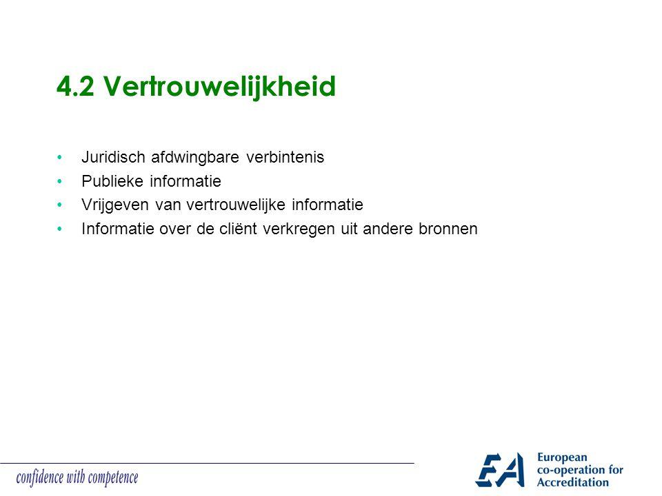 4.2 Vertrouwelijkheid Juridisch afdwingbare verbintenis Publieke informatie Vrijgeven van vertrouwelijke informatie Informatie over de cliënt verkrege