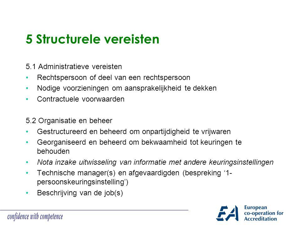 5 Structurele vereisten 5.1 Administratieve vereisten Rechtspersoon of deel van een rechtspersoon Nodige voorzieningen om aansprakelijkheid te dekken