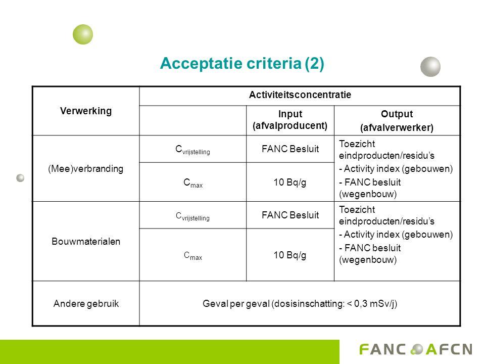 Acceptatie criteria (2) Verwerking Activiteitsconcentratie Input (afvalproducent) Output (afvalverwerker) (Mee)verbranding C vrijstelling FANC Besluit Toezicht eindproducten/residu's - Activity index (gebouwen) - FANC besluit (wegenbouw) C max 10 Bq/g Bouwmaterialen C vrijstelling FANC Besluit Toezicht eindproducten/residu's - Activity index (gebouwen) - FANC besluit (wegenbouw) C max 10 Bq/g Andere gebruikGeval per geval (dosisinschatting: < 0,3 mSv/j)