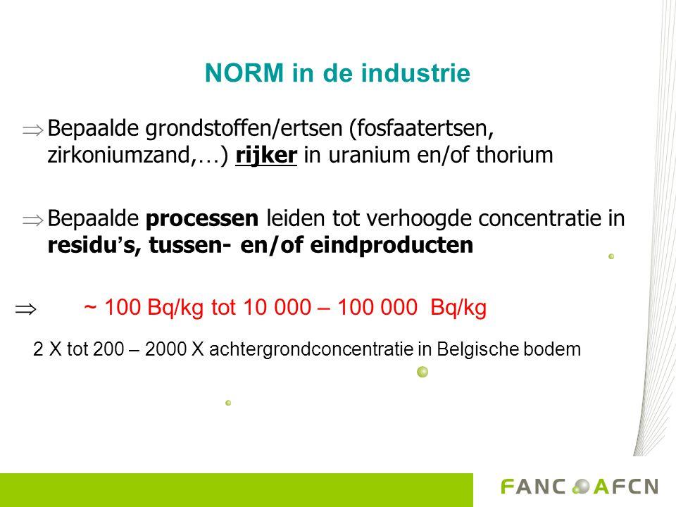NORM in de industrie  Bepaalde grondstoffen/ertsen (fosfaatertsen, zirkoniumzand, … ) rijker in uranium en/of thorium  Bepaalde processen leiden tot verhoogde concentratie in residu ' s, tussen- en/of eindproducten  ~ 100 Bq/kg tot 10 000 – 100 000 Bq/kg 2 X tot 200 – 2000 X achtergrondconcentratie in Belgische bodem