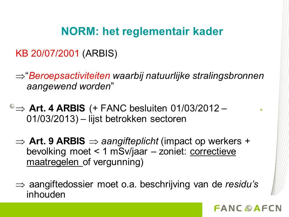 NORM: het reglementair kader KB 20/07/2001 (ARBIS)  Beroepsactiviteiten waarbij natuurlijke stralingsbronnen aangewend worden  Art.