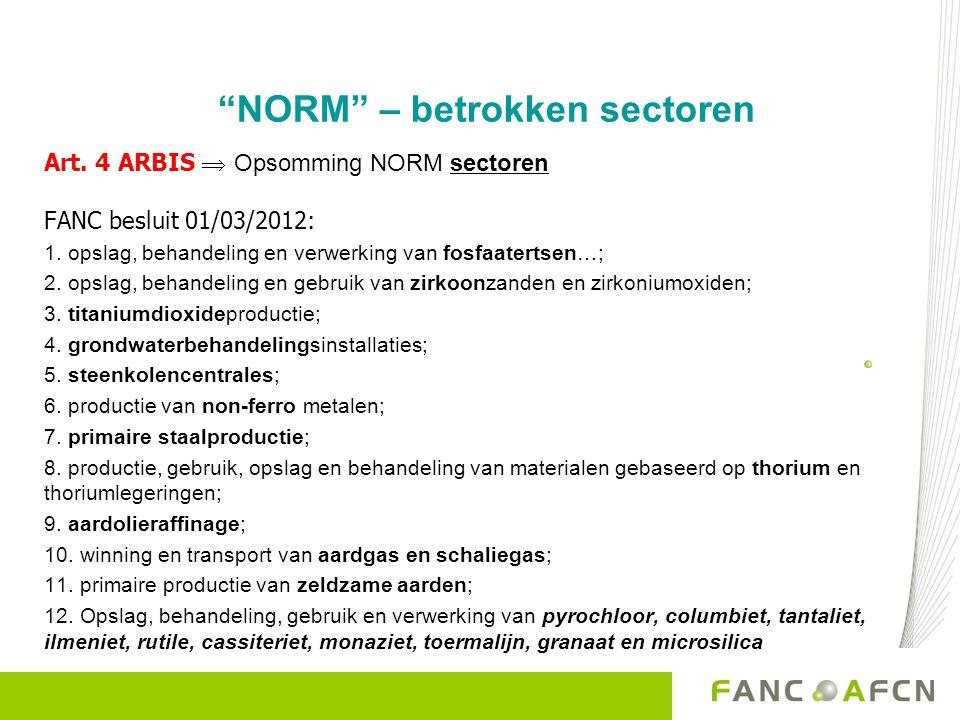 NORM – betrokken sectoren Art.4 ARBIS  Opsomming NORM sectoren FANC besluit 01/03/2012: 1.