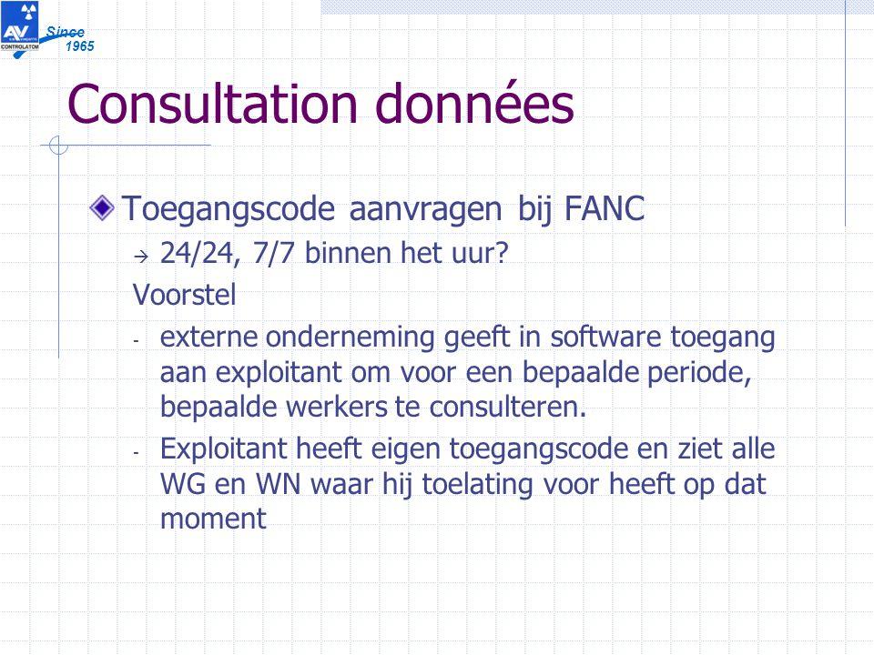 1965 Since Consultation données Toegangscode aanvragen bij FANC  24/24, 7/7 binnen het uur.