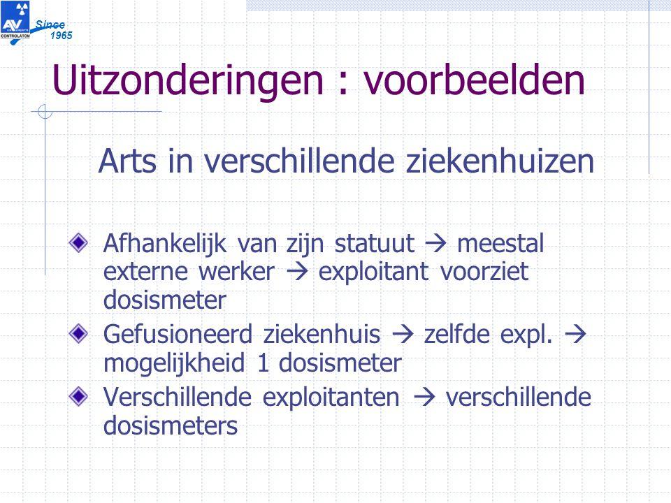 1965 Since Uitzonderingen : voorbeelden Arts in verschillende ziekenhuizen Afhankelijk van zijn statuut  meestal externe werker  exploitant voorziet dosismeter Gefusioneerd ziekenhuis  zelfde expl.