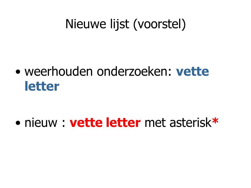 Nieuwe lijst (voorstel) weerhouden onderzoeken: vette letter nieuw : vette letter met asterisk*