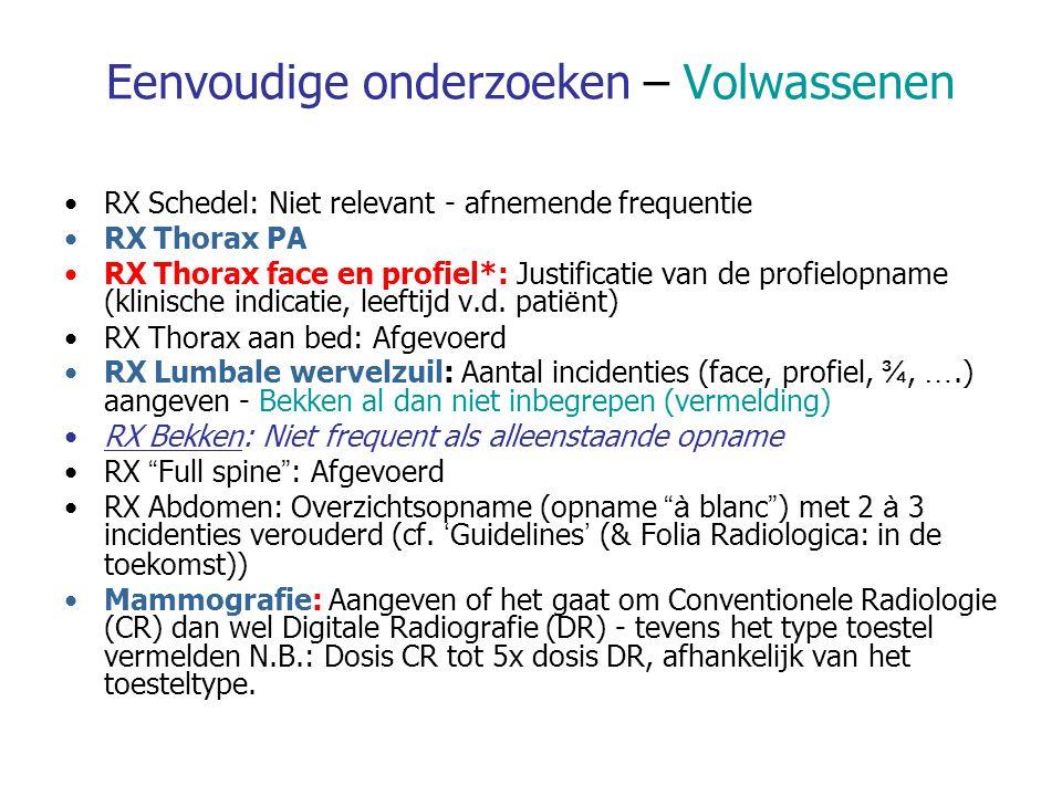 Eenvoudige onderzoeken – Volwassenen RX Schedel: Niet relevant - afnemende frequentie RX Thorax PA RX Thorax face en profiel*: Justificatie van de profielopname (klinische indicatie, leeftijd v.d.