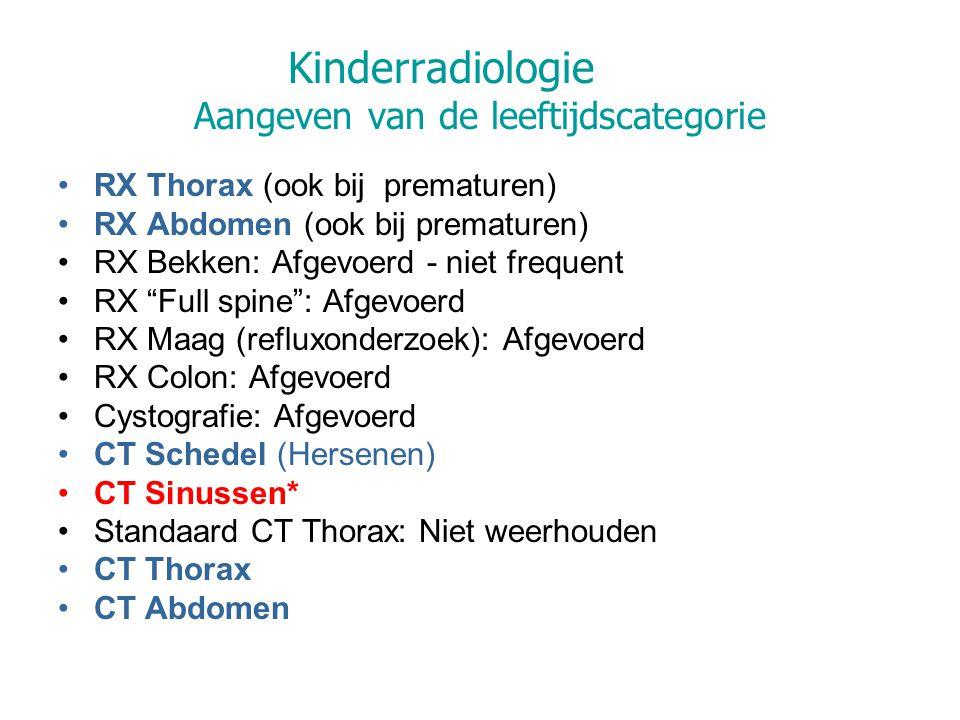Kinderradiologie Aangeven van de leeftijdscategorie RX Thorax (ook bij prematuren) RX Abdomen (ook bij prematuren) RX Bekken: Afgevoerd - niet frequent RX Full spine : Afgevoerd RX Maag (refluxonderzoek): Afgevoerd RX Colon: Afgevoerd Cystografie: Afgevoerd CT Schedel (Hersenen) CT Sinussen* Standaard CT Thorax: Niet weerhouden CT Thorax CT Abdomen
