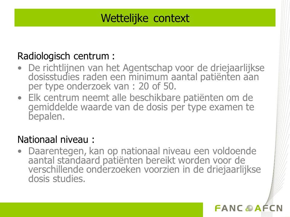 2. Verdeling van gegevens voor CT bij volwassenen Vaststelling van de Belgische DRN
