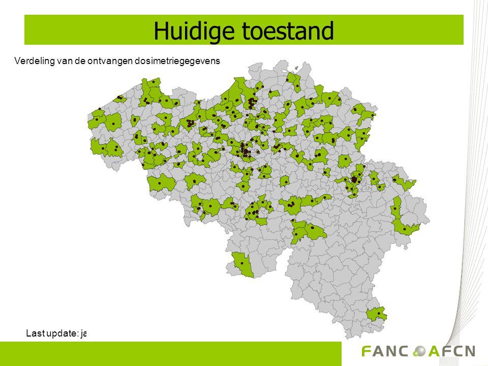 Verdeling van gegevens per type onderzoek Vaststelling van de Belgische DRN Last update: eind 2009