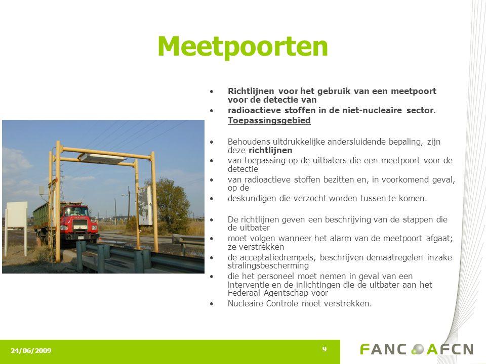 24/06/2009 9 Meetpoorten Richtlijnen voor het gebruik van een meetpoort voor de detectie van radioactieve stoffen in de niet-nucleaire sector. Toepass