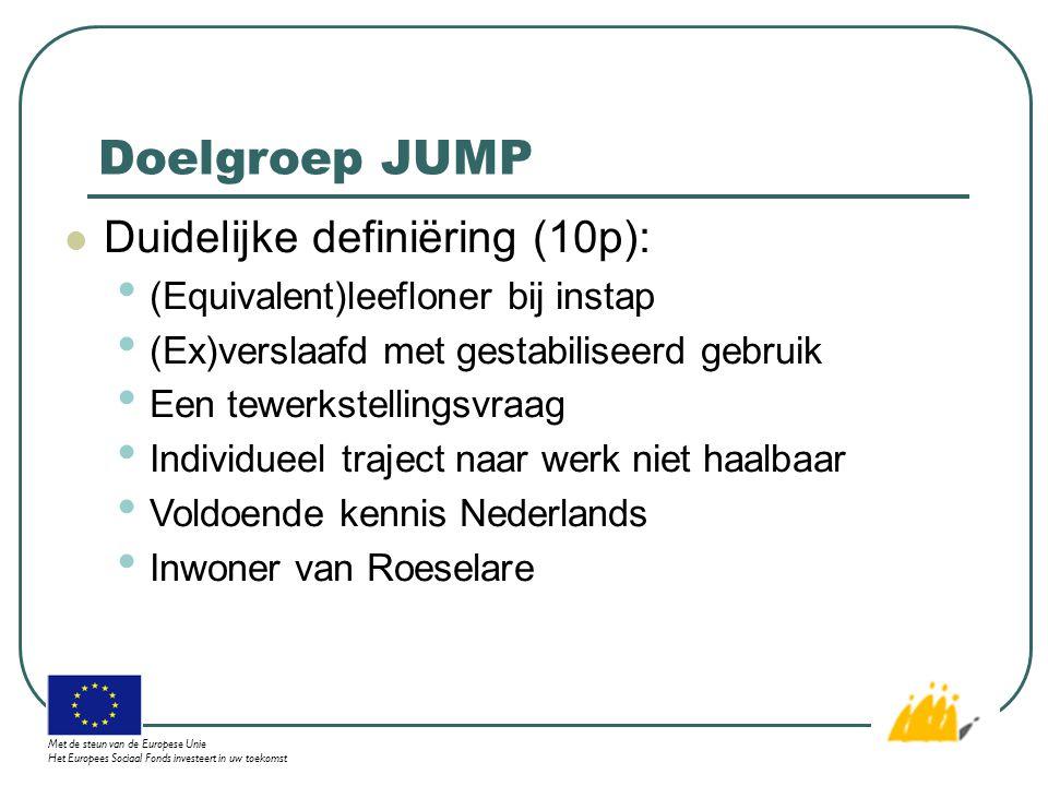 Doelgroep JUMP Duidelijke definiëring (10p): (Equivalent)leefloner bij instap (Ex)verslaafd met gestabiliseerd gebruik Een tewerkstellingsvraag Individueel traject naar werk niet haalbaar Voldoende kennis Nederlands Inwoner van Roeselare Met de steun van de Europese Unie Het Europees Sociaal Fonds investeert in uw toekomst