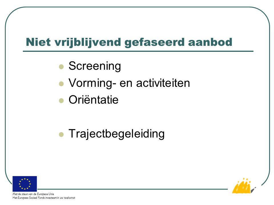 Niet vrijblijvend gefaseerd aanbod Screening Vorming- en activiteiten Oriëntatie Trajectbegeleiding Met de steun van de Europese Unie Het Europees Sociaal Fonds investeert in uw toekomst